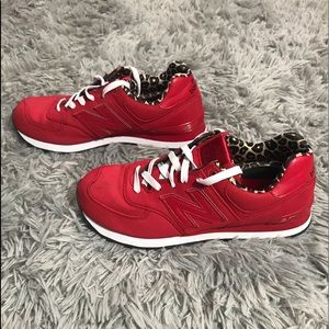 New Balance Red Leopard Print Sneakers